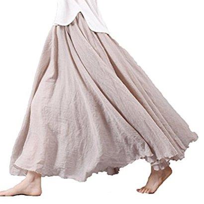 Asher-Womens-Bohemian-Style-Elastic-Waist-Band-Cotton-Linen-Long-Maxi-Skirt-Dress-95CM-Beige