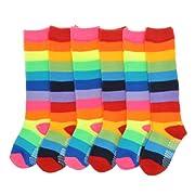 Angelina 6 Pairs Rainbow Knee Socks #2540_6-8_6