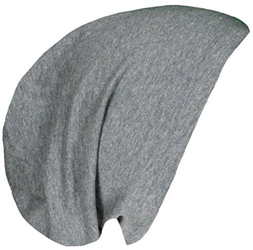 Beanie Long Slouch Beanie Unisex in verschiedenen Farben Baumwolle und Viskose Anthrazit M2019