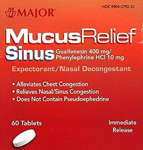 Amazon.com: Mucus Relief PE Generic for Mucinex Sinus ...