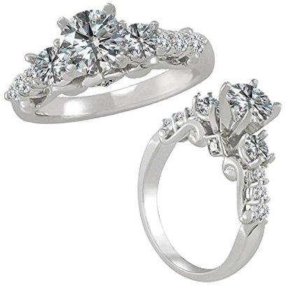 175-Carat-G-H-Round-Diamond-3-Three-Stone-Half-Eternity-Engagement-Wedding-Ring-14K-White-Gold