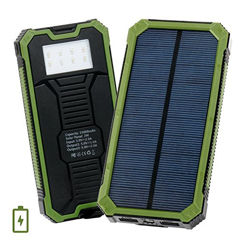 Levin Caricabatterie Solare 15000mAh con Torcia a 8 LED