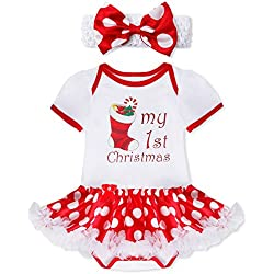 feeshow baby girls my first christmas outfit romper tutu dress with headband white xmas