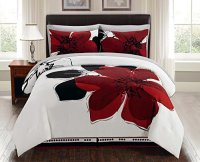 8 Pieces Burgundy Red Black White Grey floral Comforter ...