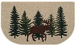 Amazoncom  Rustic Moose Hearth Rug Log Cabin Lodge