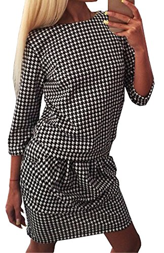 Frauen Midikleid Herbst Rundkragens 3/4-Arm Hahnentritt Sommerkleid Ballkleid Festkleid Cocktailkleid Abendkleider Partykleid