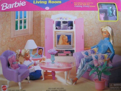 Barbie Living Room Playset  Folding Pretty House (1997