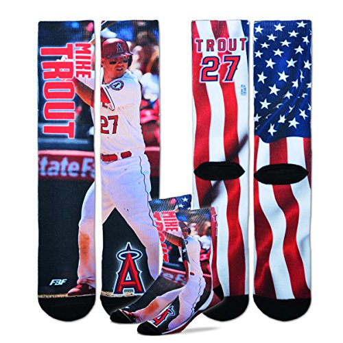 Mike Trout - MLB Mega Flag Sublimation Crew Socks Size Large 10-13