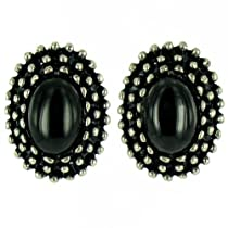 ilovefj Black on Antique Silver Cute Oval Studs