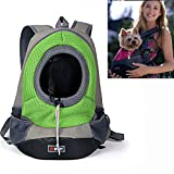 YAMAY® Creative Durable Comfortable Fabric Mesh Head Out Design Pet Puppy Dog Front Carrier Bag Pack Backpack Fit for Small Dogs Portable for Outdoor Travel Hiking (M, Green)