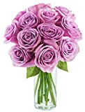 Bouquet of Long Stemmed Lavender Roses (Dozen) - With Vase