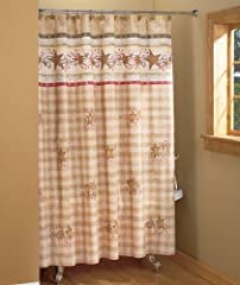 KNLstore Linda Spivey Country Bath Hearts and Stars Primitive Plaid Checkered Beige Red Bathroom Shower Curtain