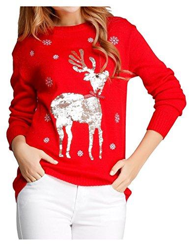 V28-Women-Girl-Ugly-Christmas-Shining-Reindeer-Snowflake-Pullover-Sweater-Jumper