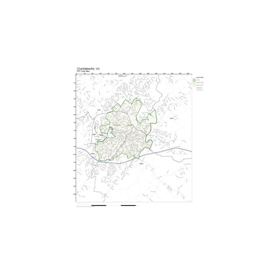 ZIP Code Wall Map of Charlottesville, VA ZIP Code Map Not