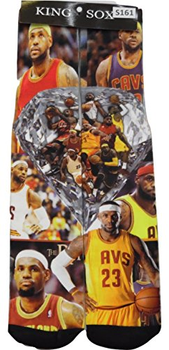 King Sox Sublimation Graphic Print Socks (Unisex Adult 9-11, Lebron James)