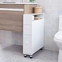 SoBuy Bathroom Storage Cabinet with Casters, Toilet Paper ...