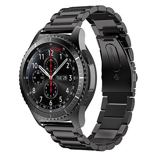 EloBeth Samsung Gear S3 Frontier Classic/ Pebble time 2 ステンレスバンド Watchバンド 22mmベルド 腕時計バンド for Gear S3 Frontier Classic/ Pebble time 2 (ステンレス 黒い)
