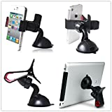 Black White Multi-function Universal 360 degree Rotation One/Double Clamp Clip Suckers Octopus Geckos Windshield Window Desktop Portable Car Vehicle ALL Phone GPS Holder Cradle Stand Bracket Super Strong Anti Slip Suction Cup Flexible For SmartPhone Mount On Car Desk Dashboard Table Bed Kitchen Portable Grip Positioning Device Support Hanging Mount Smart Cell Phone Camera For Apple iPhone6 5 5s 5c 4 4s, iPod touch, Samsung Galaxy S5 S4 S3 Note 3 2, HTC One,Google Nexus 5, Cell Phone, Mobiles Android Phone Tablet Ipad PAD, MP3, MP4, GPS, PA Home Office Travel Use Width less than 9cm (One Clip Sucker-black)
