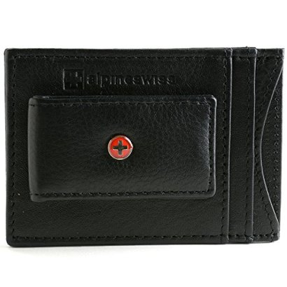 Alpine-Swiss-Mens-Wallet-Leather-Money-Clip-Thin-Slim-Front-Pocket-Wallet