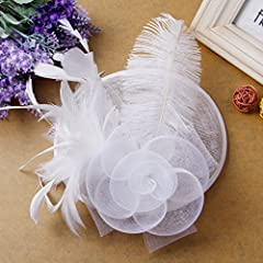 Valdler Womens Feather Mesh Net Sinamay Fascinator Hat with Hair Clip Tea Party Derby (One Size, White)