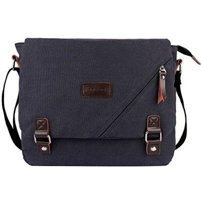 ibagbar-14-Inch-Large-Canvas-Shoulder-Laptop-Bag-Dark-Gray