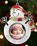 Snowman Photo Frame Christmas Ornament with Jeweled Crystals and Engraved with Let It Snow - Chrome Metal and Enamel Finish - 4-1/2 Inch