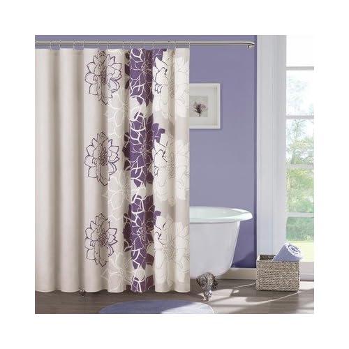 Amazoncom  Lola Cotton Shower Curtain Color Purple  Madison Park Curtains