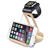 Apple Watch Stand, SPARIN® Aluminum Dual Stand Charge Station for Apple Watch & iPhone, with Perfect Viewing Angle, Fit All Apple Watch Models (38mm and 42mm), [With Premium Stylus Pen], Gold