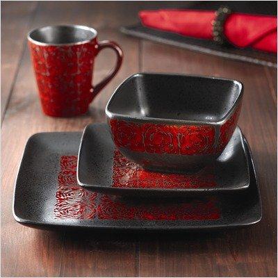 American Atelier Yardley Red 16-Piece Dinnerware Set