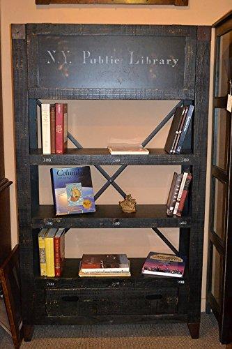 Crafters and Weavers Rustic Solid Wood Graffiti Bookshelf