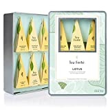 Tea Forté® LOTUS Medium Tin Sampler Gift Assortment with 6 Hnadcrafted Pyramid Tea Infusers - Black Tea, Green Tea, Oolong Tea, White Tea, Herbal Tea