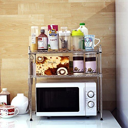 Homfa Küchenregal Mikrowellenhalter Standregal Küchenschrank 2 Ablage rostfreier Stahl