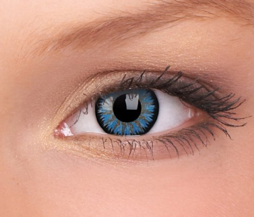 Farbige Kontaktlinsen 3-Monatslinsen & Color Contact lenses Blau Hellblau Aqua 1 Paar (2 Stück) incl. 60ml Pflegemittel und Behälter!