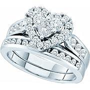 Ladies 14k White Gold 1.04 Ct Round Cut Diamond Heart Shaped Wedding Engagement Bridal Ring Set