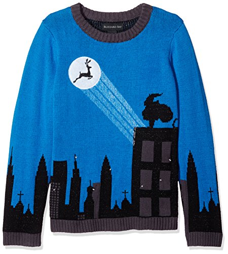 Blizzard Bay Big Boys' Cityscape Light-Up Reindeer Sweater