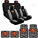 Ultimate Superman Car Seat Covers New Design Carpet Floor Mats Set Bundled with Classic POW Logo Headrest Covers
