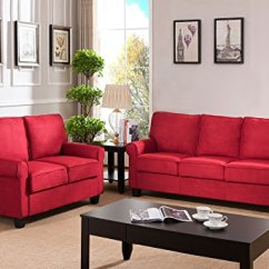 Microfiber Fabric Sofa Costco Bed Ravenna Kings Brand Furniture Loveseat Living Room Set Red