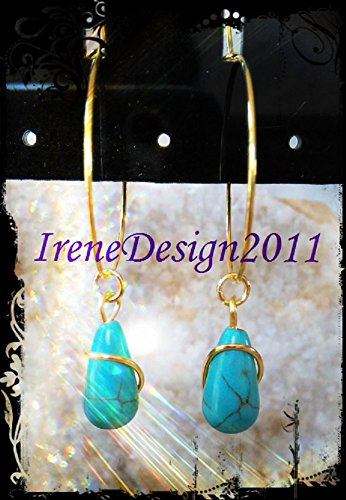Turquoise Drop Gold Earrings