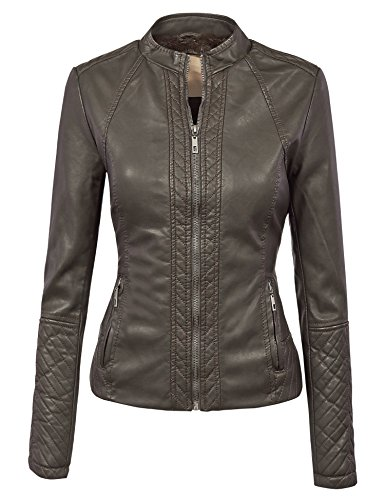 MBJ WJC1025 Womens Faux Leather Inner Fleece Moto Jacket M COFFEE
