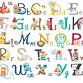 Big graphic alphabet letters kids room nursery wall decal stickers new