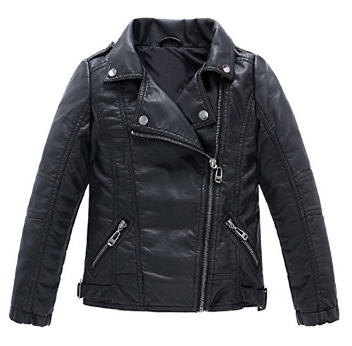 Josie & Connie Boys Girls Unisex Faux Leather Moto Jacket,Winter,Spring (12 / 55
