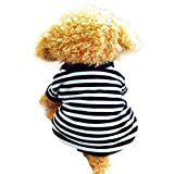 Dog Shirt, HP95(TM) 2015 Fashion Summer Pet Dog Classic Wide Stripes T-shirt, Doggy Clothes Cotton Shirts (White, S)