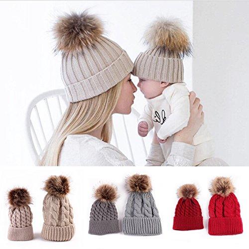 2PCS Parent-child Baby Mutter Strickmütze Wärmer Familie Häkelarbeithut Wollmütze Beanie Ski Hüte&Mützen