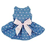 Fitwarm® Sweetie Bows Soft Denim Pet Dog Dress Shirts Clothes Vest Apparel, X-small