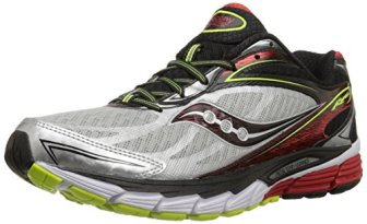 Saucony Men's Ride 8 Running Shoe, Silver/Red/Citron,11 M US