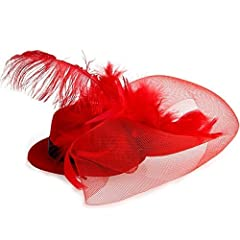 FACILLA® Red Feather Mini Top Hat Organza Mesh Hair Clip Veil Fascinator Bridal Wedding