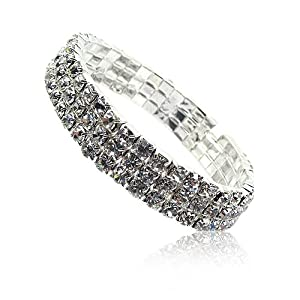 Three Row Clear Crystal Stretch Bangle Fashion Bracelet
