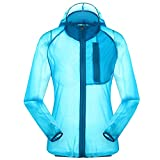 Women's Outdoor Anti UVA UPF 30+ Waterproof Quick-dry Thin Windbreaker Jackets Sapphire Blue CN Tag 2XL - US L
