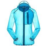 Women's Outdoor Anti UVA UPF 30+ Waterproof Quick-dry Thin Windbreaker Jackets Sapphire Blue CN Tag XL - US M