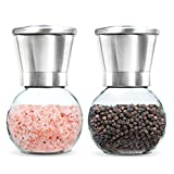 Premium Stainless Steel Salt and Pepper Grinder Set of 2- Brushed Stainless Steel Pepper Mill and Salt Mill, 6 Oz Glass Round Body, 5 Grade Adjustable Ceramic Rotor By Levav